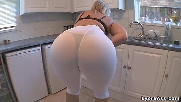 Big Juicy Booty Sheer White Leggings And Thong